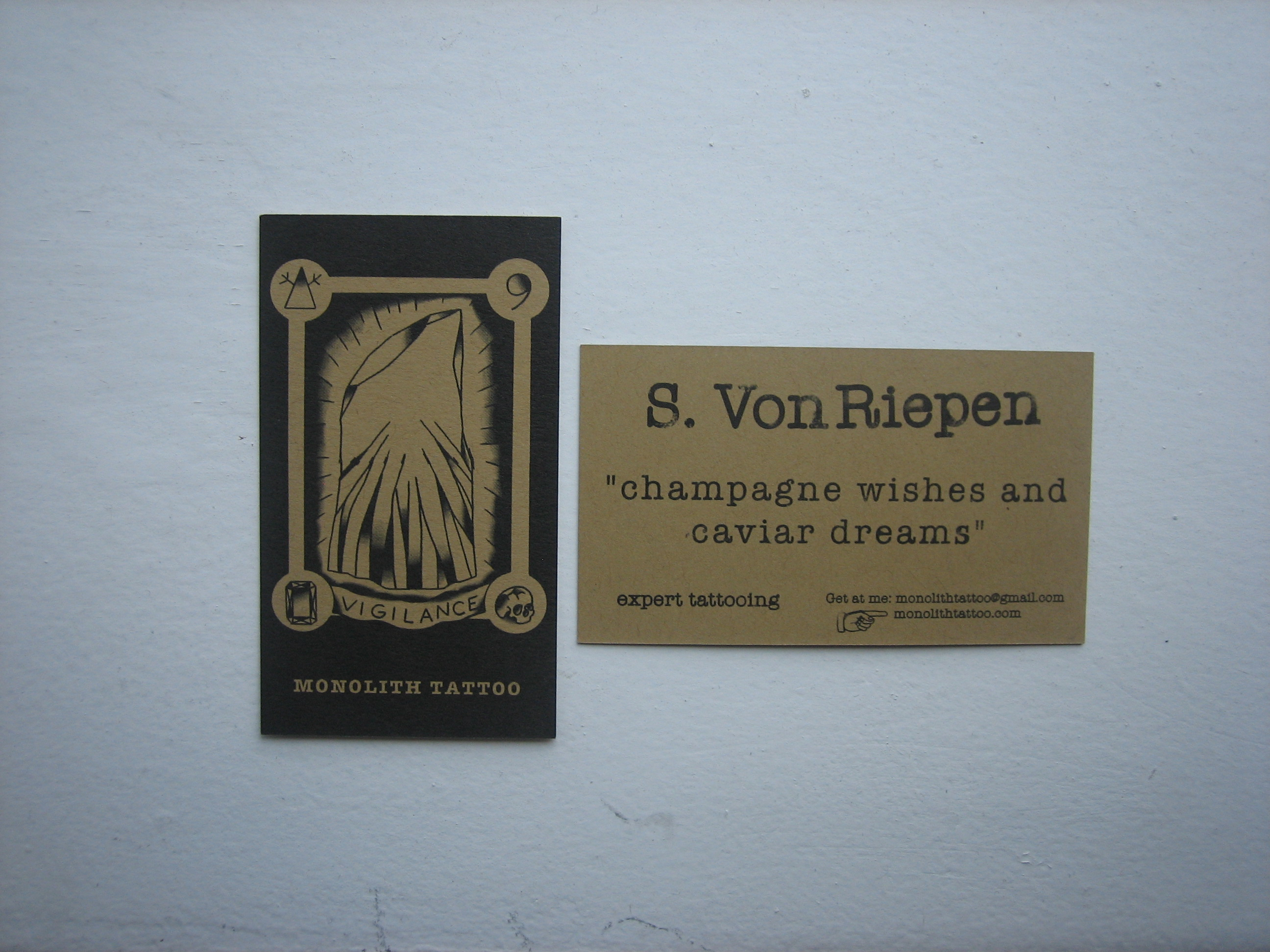 Here are the cards I designed for Monolith Tattoo. My boy SVR's brand.